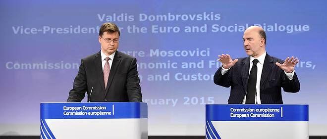 """Valdis Dombrovskis et Pierre Moscovici ont présenté mercredi les """"recommandations spécifiques par pays"""", censées assurer la coordination des politiques économiques des États membres dans l'UE et la zone euro."""