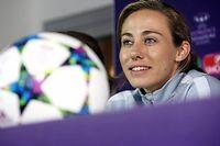La joueuse du PSG, Sabrina Delannoy, en conférence de presse. ©ADAM BERRY