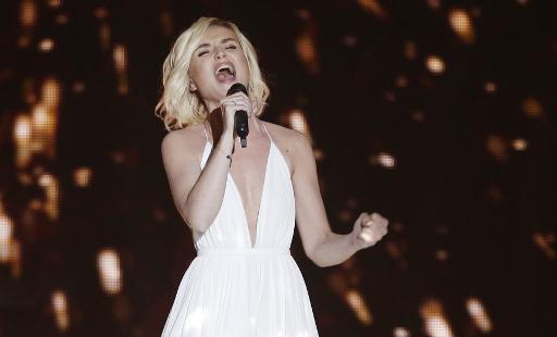 La russe Polina Gagarina pendant la première demi-finale de l'Eurovision,le 19 mai 2015 à Vienne © DIETER NAGL AFP