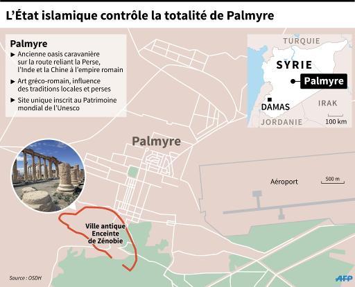 Localisation de l'avancée des jihadistes de l'EI dans Palmyre et données sur la ville © O. Kamal AFP