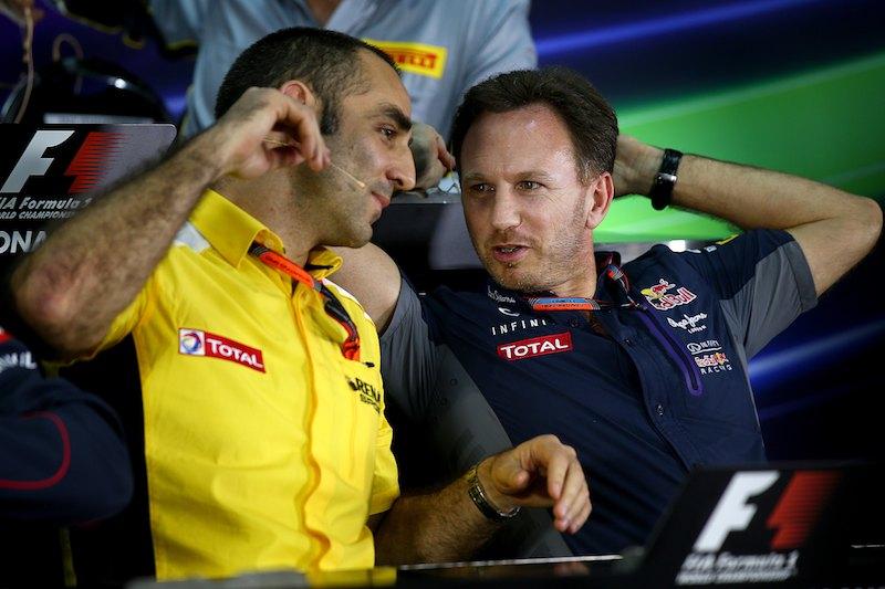 Christian Horner et Cyril Abiteboul, directeur général de Renault Sport F1. ©  Mark Thompson/Getty Images