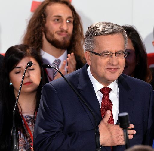 L'actuel président Bronislaw Komorowski après l'annonce des résultats le 24 mai 2015 à Varsovie © Janek Skarzynski AFP