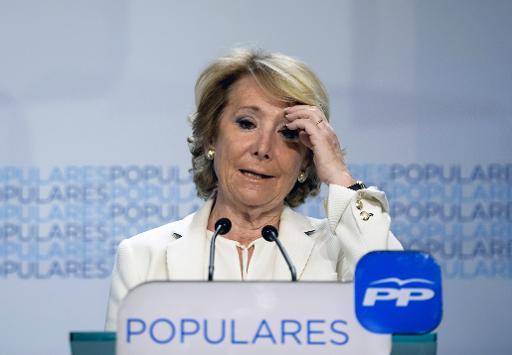 Esperanza Aguirre, candidate du parti Polulaire à la mairie de Madrid, lors d'une conférence de presse le 24 mai 2015 à Madrid © DANI POZO AFP