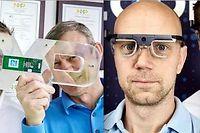 De gauche à droite, les inventeurs Amtmann, Maugars, Elvesjo et Skogo. ©Le Point