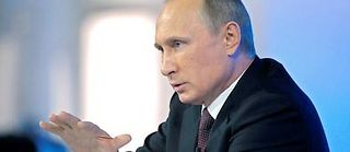 Vladimir Poutine lors d'un passage à la télévision russe, le 17 avril 2014.  ©Alexei Druzhinin