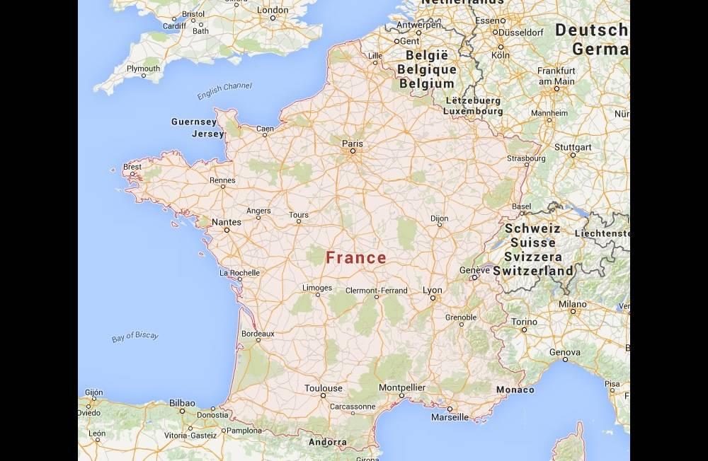 Les frontières de la France vues de Google Maps ©  Google Maps 2015