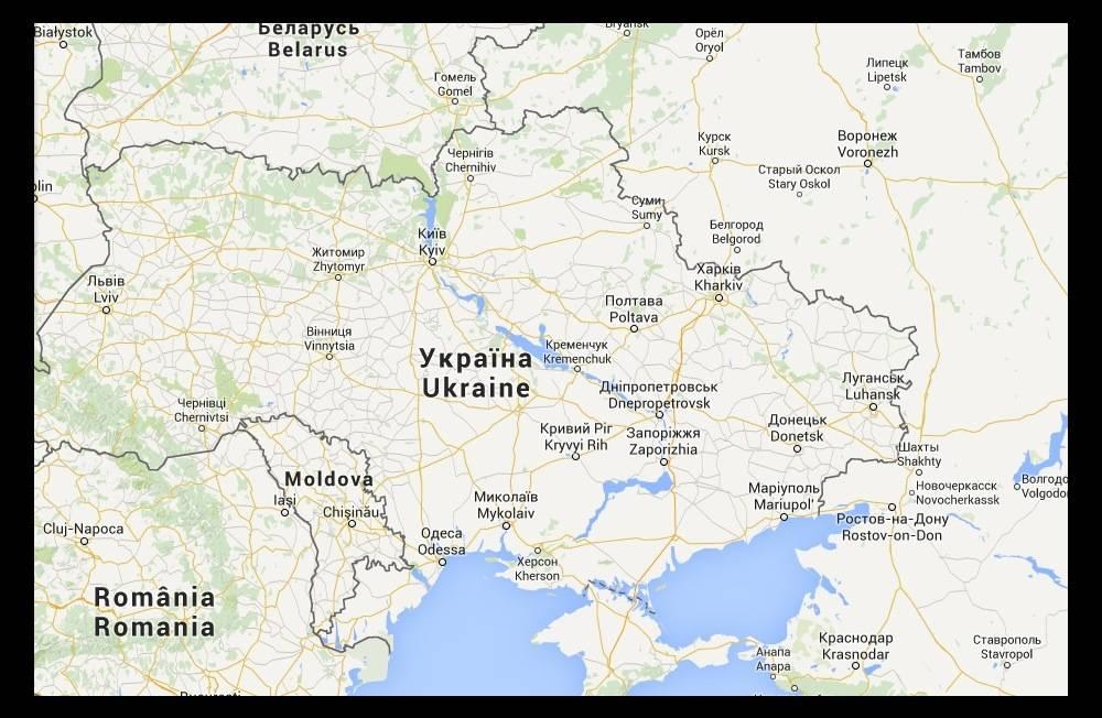 Les frontières ukrainiennes vues de France. ©  Google Maps