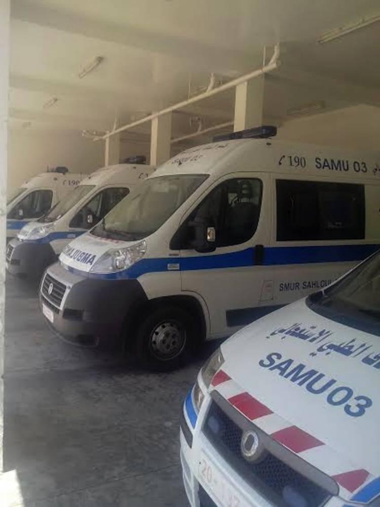 Les voitures du Samu de Sousse le jour d'après. ©  Zied Mahjoub