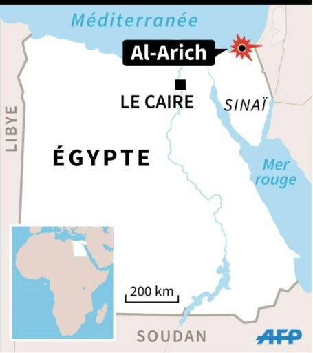 Carte de localisation du secteur d'Al-Arich, dans le Sinaï égyptien, où une série d'attaques simultanées ont été menées contre cinq positions de l'armée © P.Pizarro/V.Lefai AFP