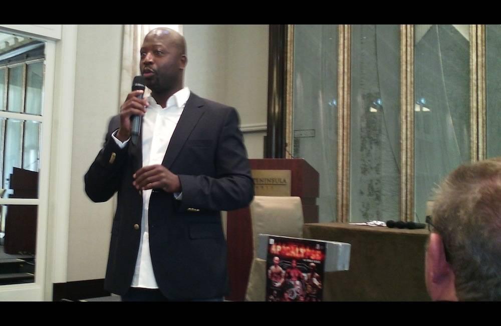"""Malamine Koné, le 13 juin dernier à Paris, lors de la présentation de son premier gala de boxe, """"Apocalyse"""".   ©  Founé Diarra"""