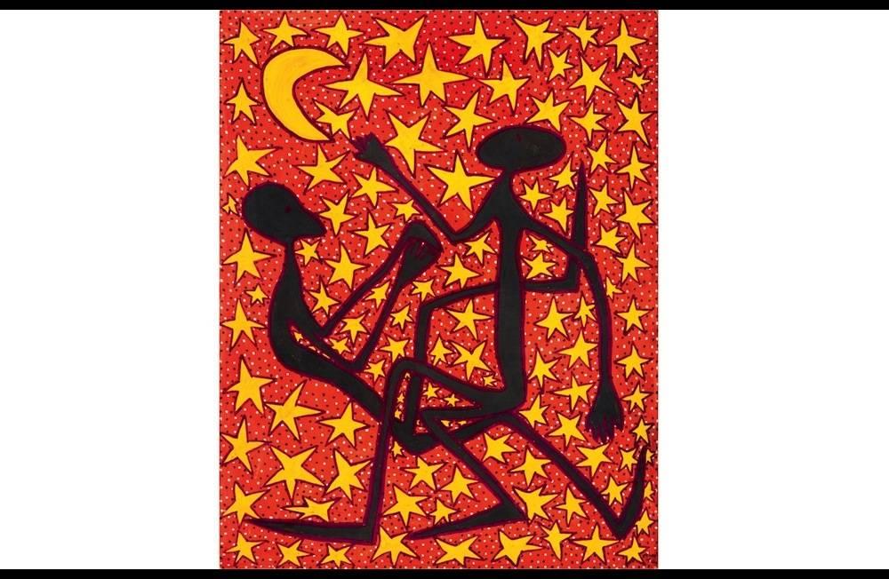 """Mode Muntu, """"Calendrier lunaire"""" (1979). Peintre allégorique à l'univers enchanteur, il suivit les cours de l'Académie des beaux-arts d'Elisabethville, fondée en 1951 par le peintre belge Laurent Moonens, où Mwenze Kibwanga, venu de l'école du Hangar, fut son  professeur.  ©  Michael de Plaen"""