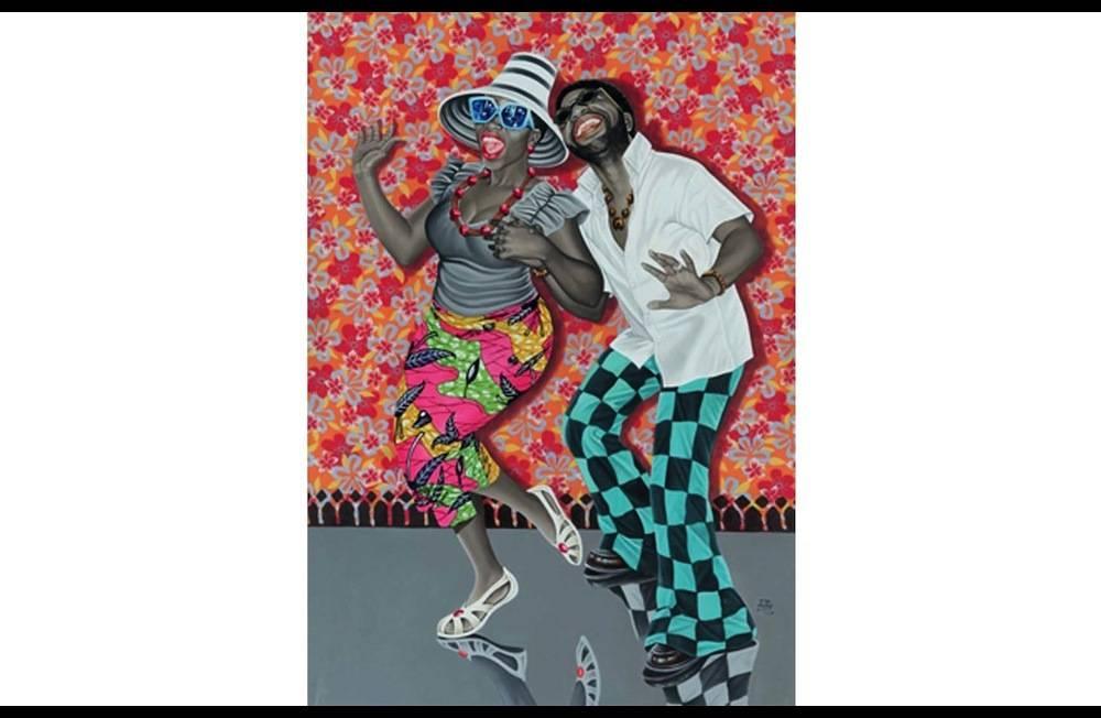 """Jean-Pierre Mika, """"Kiese na kiese"""" - """"Le bonheur et la joie"""" (2014). Elève de l'Académie des beaux-arts de Kinshasa, il revendique sa filiation avec les artistes populaires (Chéri Chérin sera son mentor). Son style joue aussi avec la tradition des années 60 des studios photos de Kinshasa ou de Bamako. ©  Antoine de Roux"""