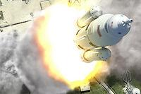 Vue d'artiste du lanceur lourd SLS de la Nasa, qui doit emmener l'homme vers Mars.