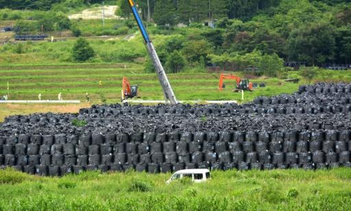 Des sacs contenant de la terre contaminée sont entreposés le 17 juillet 2015 à Iitate dans la préfecture de Fukushima, un village qui s'est trouvé sur le passage du nuage radioactif © TOSHIFUMI KITAMURA AFP
