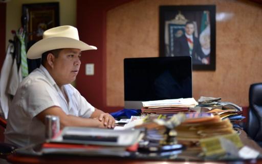Mario Valenzuela,  maire de Badiraguato (Etat de Sinaloa), lors d'une rencontre avec l'AFP le 17 juillet 2015 © Fernando Brito AFP