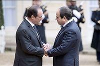 Le président égyptien accueilli par François Hollande le 26 novembre 2014 à l'Élysée. ©ALAIN JOCARD