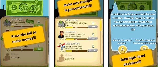 Capture d'écran du site de MeigaLabs, créateur de Corrupt Mayor Clicker.