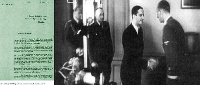 À g. : une lettre de Bousquet à Oberg du 18 juin 1942 (Archives nationales, F/7/14886). À dr. : 6 mai 1942, Reinhard Heydrich, chef du Service de sécurité du Reich, reçoit à Paris René Bousquet, secrétaire général à la Police. Bousquet deviendra le principal interlocuteur français de Karl Oberg, chef suprême de la SS et de la police en France.