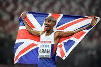 Le Britannique Mo Farah a conservé samedi 22 août à Pékin son titre du 10 000 m des Mondiaux d'athlétisme. ©OLIVIER MORIN