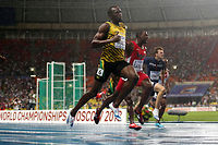 Usain Bolt et Justin Gatlin risquent fort de se retrouver à la lutte pour le titre mondial à Pékin. ©Adrian DENNIS