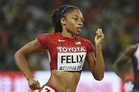 L'Américaine Allyson Felix tentera de remporter son neuvième titre aux championnats du monde lors de la finale du 400 mètres ce jeudi à Pékin. ©GREG BAKER