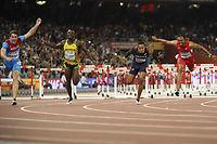 Le Russe Shubenkov remporte l'or sur 110 mètres haies, devant le Jamaïcain Parchment et l'Américain Merritt. ©Olivier MORIN