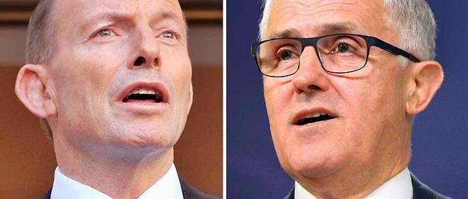 Devenu très impopulaire, Tony Abbott (à gauche) a été battu par Malcolm Turnbull (à droite), qui avait décidé de le défier au sein du Parti libéral.