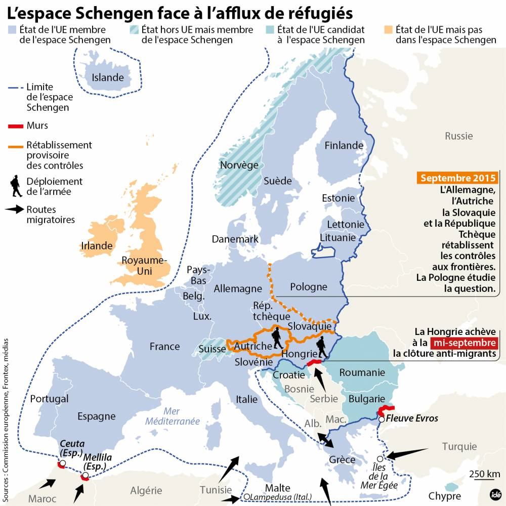 Rétablissement des contrôles aux frontières européennes ©  Idé