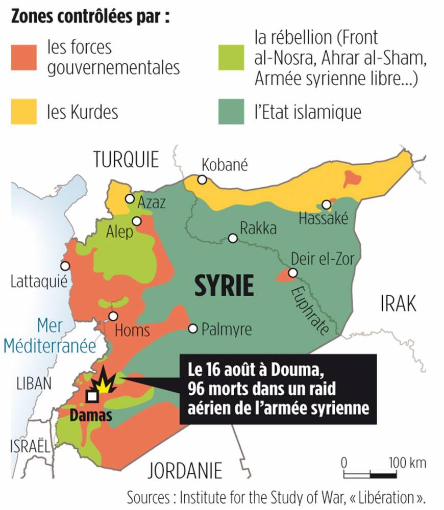 Les forces en présence en Syrie ©  Idé