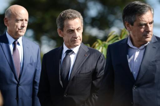 François Fillon (d), Nicolas Sarkozy et Alain Juppé (g) lors d'un meeting des Républicains à La Baule, le 5 septembre 2015 © Jean-Sebastien Evrard AFP/Archives