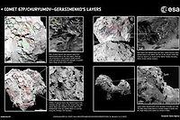Ces images montrent les différentes strates repérées par les scientfiques à la surface de Tchouri.
