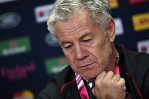 L'entraîneur de la Géorgie Milton Haig en conférence de presse, 2 jours avant le match du Mondial contre les All Blacks, le 30 septembre 2015 à Cardiff © Loic Venance AFP/Archives