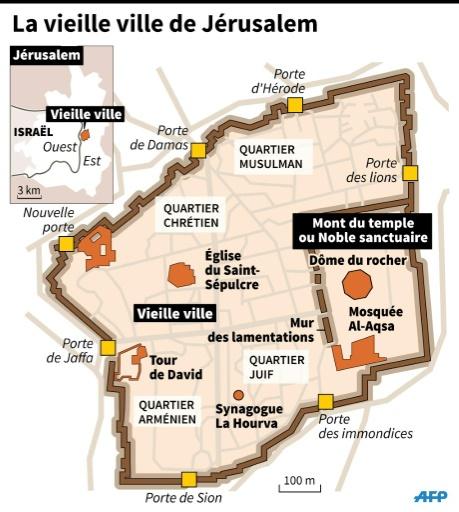Carte de la Vieille ville de Jérusalem ©  AFP