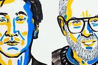 Les deux nouveaux Prix Nobel de physiqueTakaaki Kajita et Arthur B. McDonald.