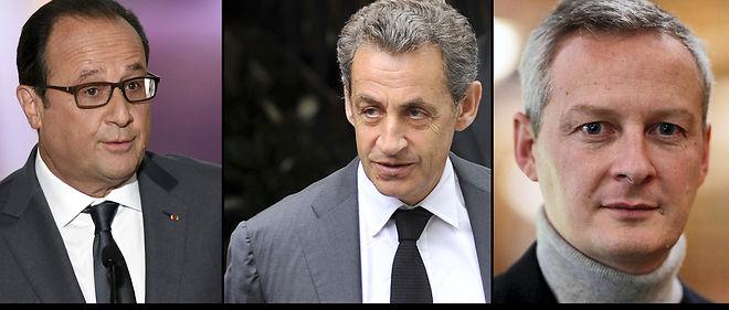 De gauche à droite : François Hollande, Nicolas Sarkozy et Bruno Le Maire.
