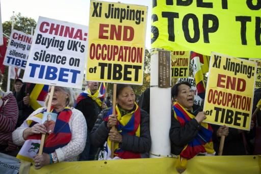 Des manifestants pro-Tibet libre protestent contre la venue du président chinois, à Parliament Square, à Londres, le 20 octobre 2015 © JACK TAYLOR AFP