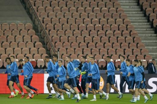 Les joueurs du Real Madrid à l'entraînement, le 20 octobre 2015 au Parc des Princes © MIGUEL MEDINA AFP