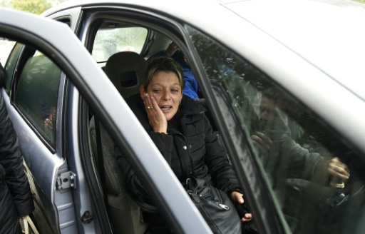 Adèle Vinterstein, la mère du jeune homme mort dans un accident de voiture, le 21 octobre 2015 à Moirans © PHILIPPE DESMAZES AFP