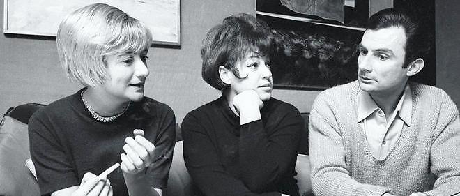 À Paris, Françoise Sagan, Régine et Jean Cau, parolier de la chanteuse en 1967.