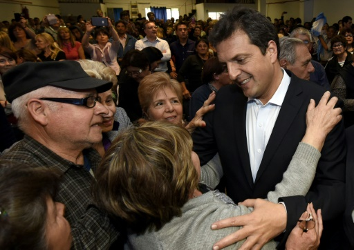 Sergio Massa lors de la campagne électorale le 19 octobre 2015 à Buenos Aires © HO Prensa Frente Renovador/AFP/Archives