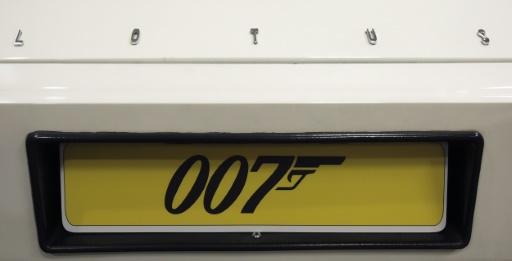 """La plaque d'immatriculation de la Lotus Esprit de James Bond dans le film """"l'espion qui m'aimait"""", à Londres le 1er décembre 2008 © Leon Neal AFP/Archives"""