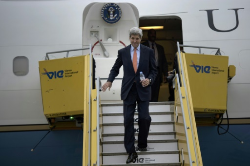 Le Secrétaire d'Etat américain John Kerry, à son arrivée à Vienne le 29 octobre 2015 © BRENDAN SMIALOWSKI POOL/AFP