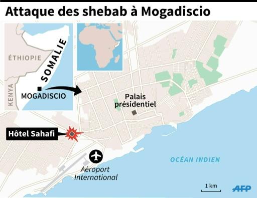 Carte de localisation de l'hôtel Sahafi à Mogadiscio attaqué par les islamistes shebab dimanche © I.Vericourt/J.Jacobsen, jj/pm/vl AFP