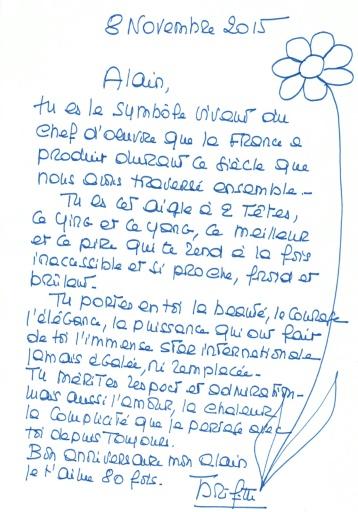 Une lettre de Brigitte Bardot à Alain Delon pour ses 80 ans © BRIGITTE BARDOT HO/AFP