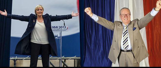 Marine Le Pen, présidente du FN, et Jean-Marie Le Pen (son père) en mai 2015.Photomontage : J. Saint-Médar.