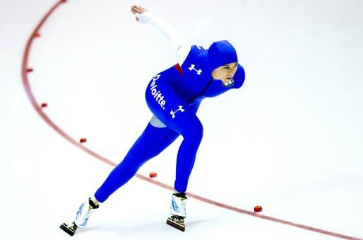 L'Américaine Brittany Bowe lors du 1000 m de l'étape de Coupe du monde de patinage de vitesse de Heerenveen, aux Pays-Bas, le 8 février 2015 © JERRY LAMPEN ANP/AFP/Archives