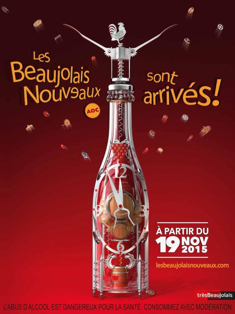 Affiche du Beaujolais nouveau 2015. ©  DR