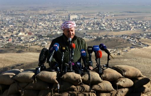 Le dirigeant kurde irakien Massud Barzani annonce la reprise de la ville de Ninjar au groupe EI, en Irak, le 13 novembre 2015 © SAFIN HAMED AFP/Archives