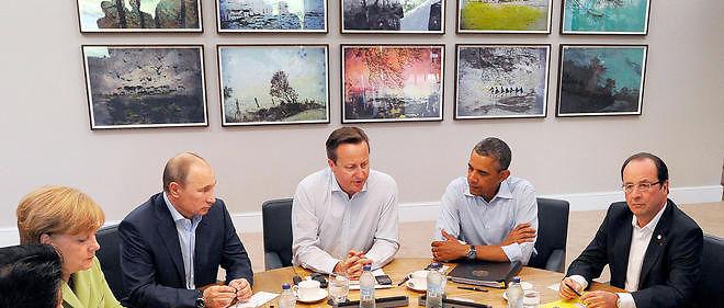 Angela Merkel, Vladimir Poutine, David Cameron, Barack Obama et François Hollande, photo d'illustration.