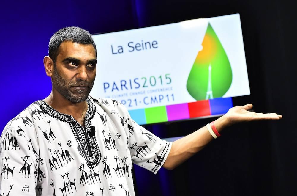 Kumi naidoo, président de Greenpeace Afrique du Sud le 1er décembre 2015 au Bourget, à la COP21.  ©  AFP / LOIC VENANCE